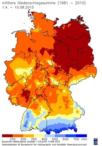 Mittlere Niederschläge in Deutschland im Zeitraum 1.4. bis 10.8.