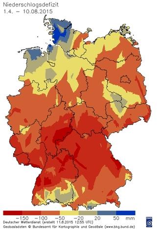 Niederschlagsdefizit Vegetationsperiode seit 1.4.2015